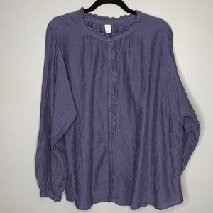 Old Navy navy boho oversized embroidered floral ruffled long sleeve blouse XL